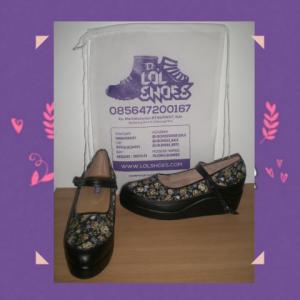sepatu motif flower wedges custom shoes